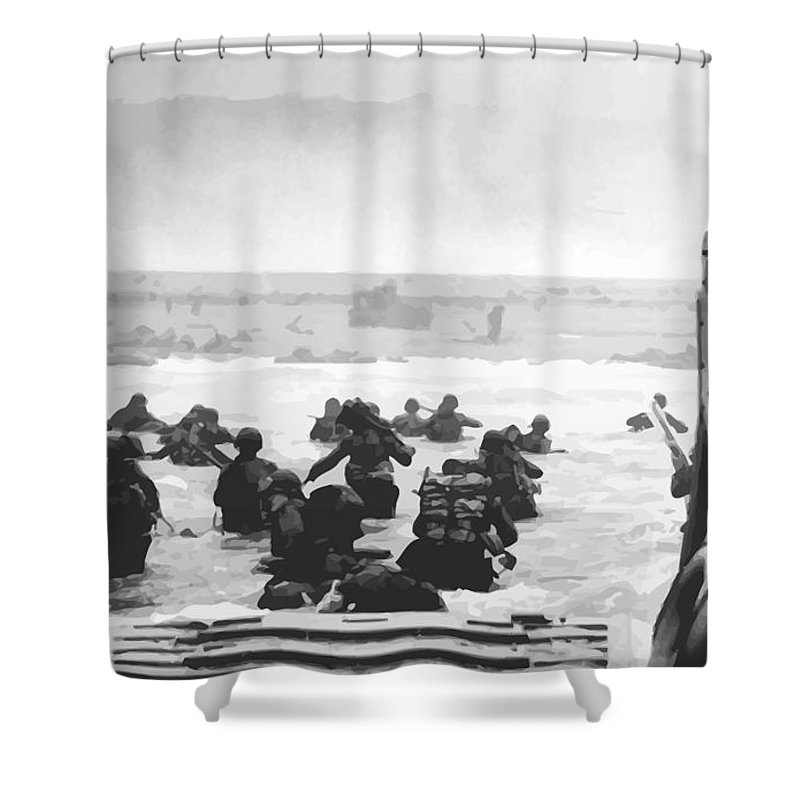D Day Shower Curtain featuring the painting Storming The Beach On D-Day by War Is Hell Store