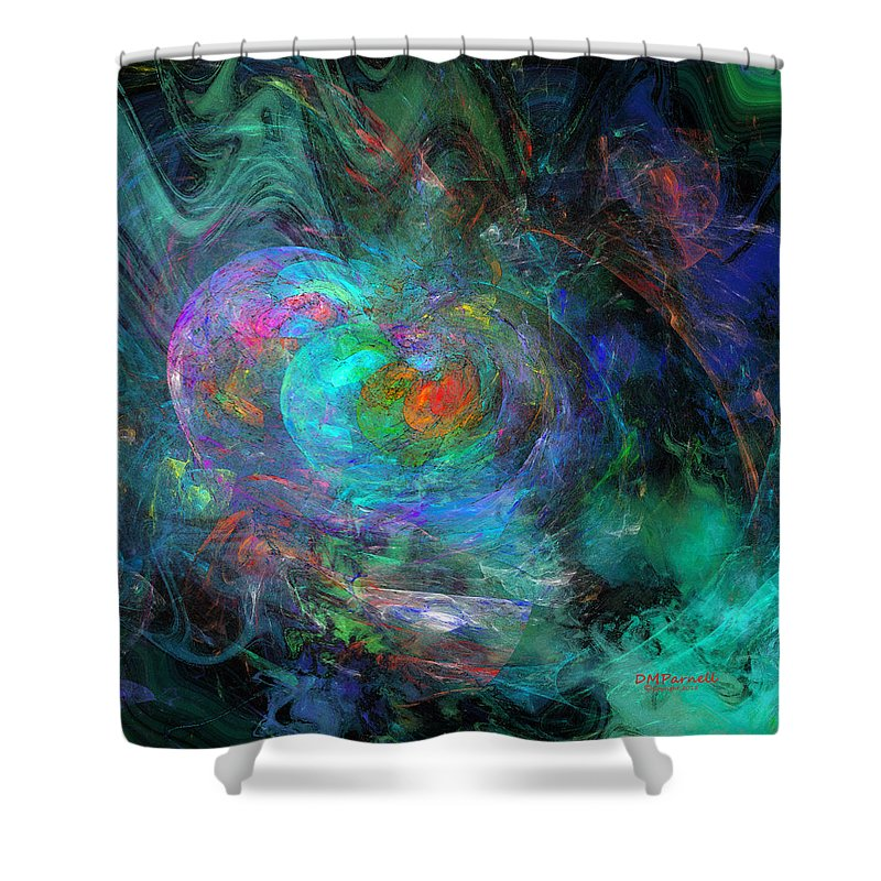 Abstract Shower Curtain featuring the digital art Storms At Sea by Diane Parnell