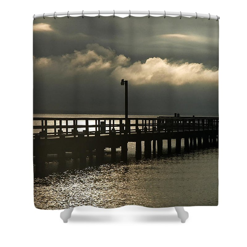 Clay Shower Curtain featuring the photograph Storms Brewin' by Clayton Bruster