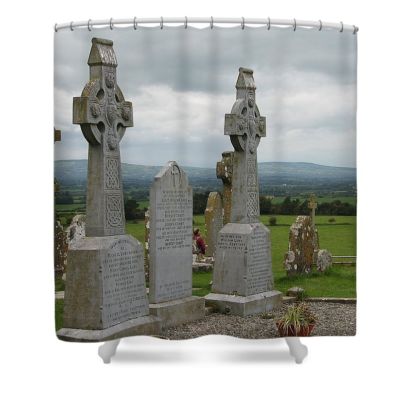 Celtic Cross Shower Curtain featuring the photograph Storms Comming by Kelly Mezzapelle