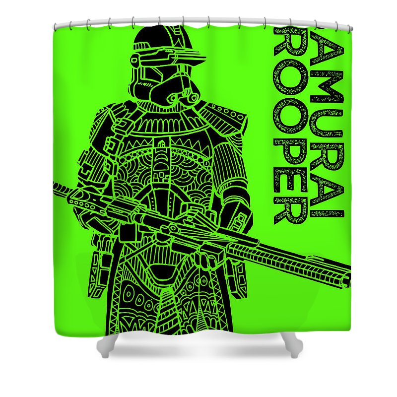 Stormtrooper Shower Curtain featuring the mixed media Stormtrooper - Green - Star Wars Art by Studio Grafiikka