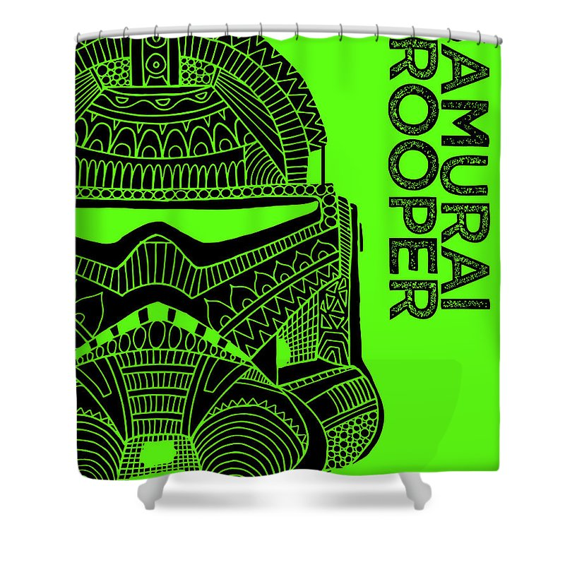 Stormtrooper Shower Curtain featuring the mixed media Stormtrooper Helmet - Green - Star Wars Art by Studio Grafiikka