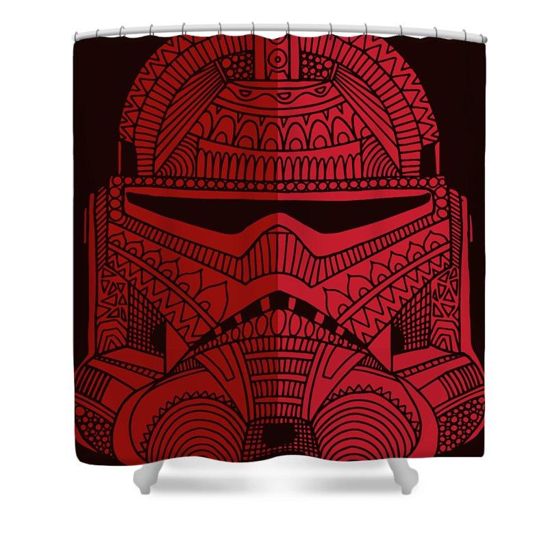 Stormtrooper Shower Curtain featuring the mixed media Stormtrooper Helmet - Star Wars Art - Red by Studio Grafiikka