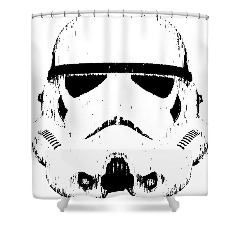 Star Wars Shower Curtain Featuring The Digital Art Stormtrooper Helmet Tee Black Ink By