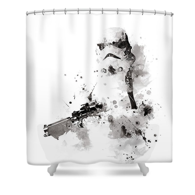 Stormtrooper Shower Curtain Featuring The Mixed Media By Monn Print