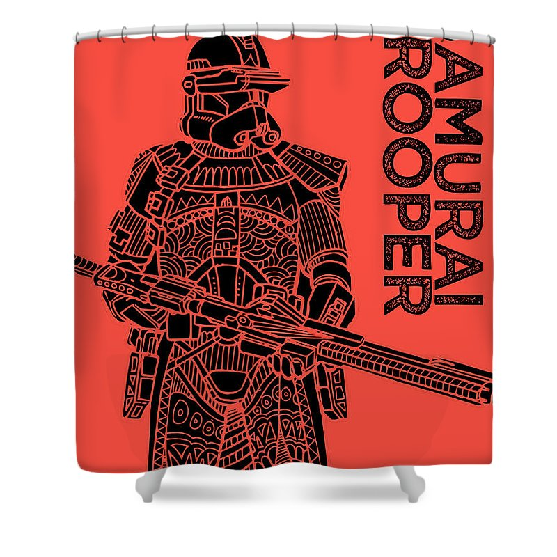 Stormtrooper Shower Curtain featuring the mixed media Stormtrooper - Red - Star Wars Art by Studio Grafiikka