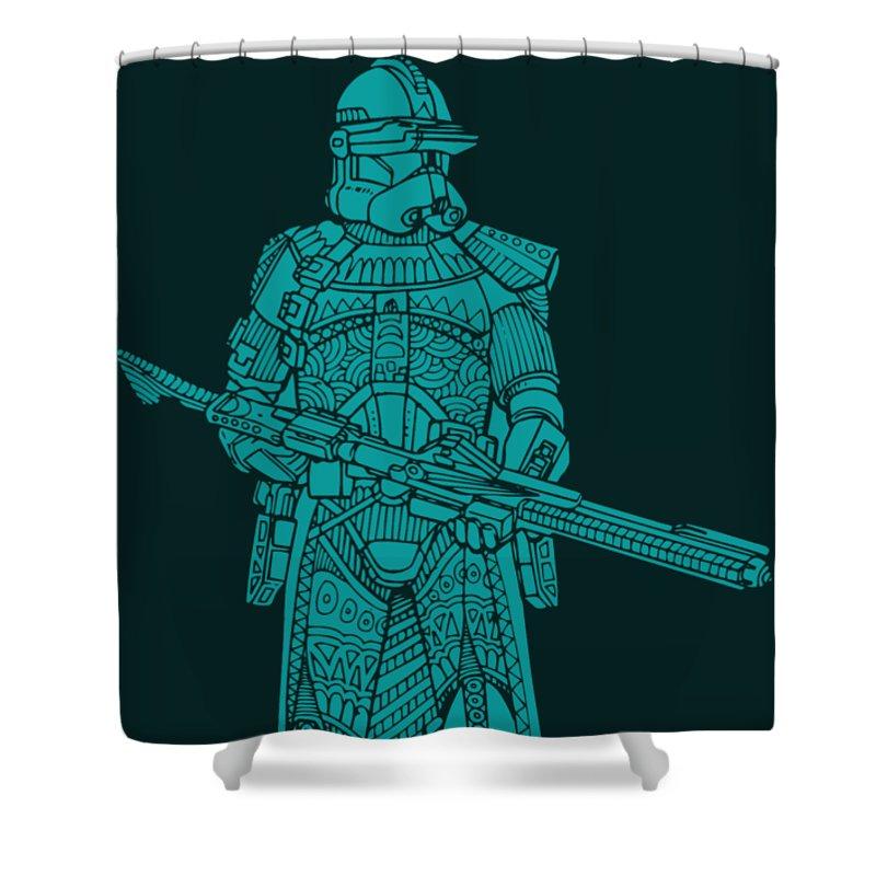 Stormtrooper Shower Curtain featuring the mixed media Stormtrooper Samurai - Star Wars Art - Blue 03 by Studio Grafiikka