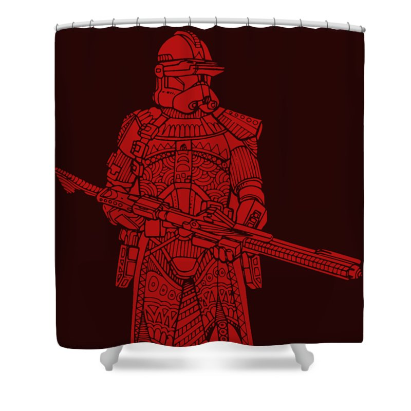 Stormtrooper Shower Curtain featuring the mixed media Stormtrooper Samurai - Star Wars Art - Red by Studio Grafiikka