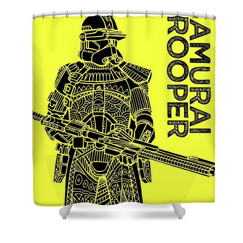 Stormtrooper Shower Curtain featuring the mixed media Stormtrooper - Yellow - Star Wars Art by Studio Grafiikka