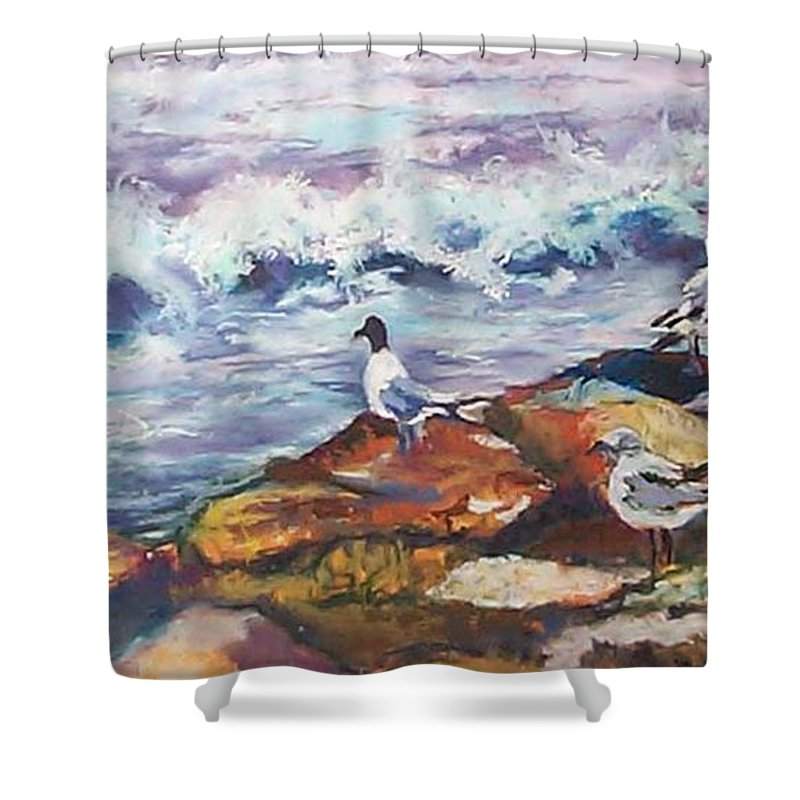 Coastal Shower Curtain featuring the pastel Stormwatch IIi by Alicia Drakiotes