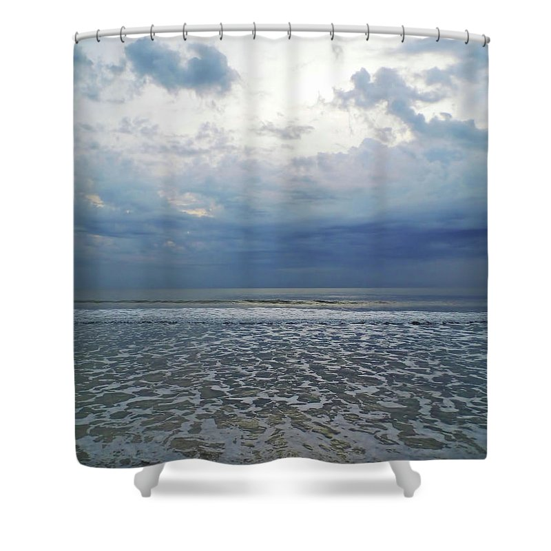 Sunrise Shower Curtain featuring the photograph Stormy Beach Beauty by D Hackett