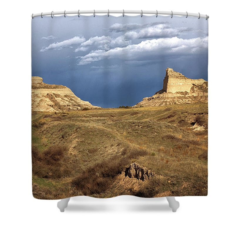 Scotts Bluff Shower Curtain featuring the photograph Stormy Day At Mitchell Pass by Susan Rissi Tregoning