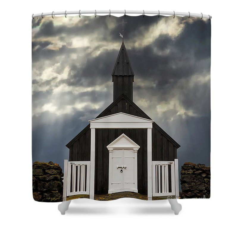 Architecture Shower Curtain featuring the photograph Stormy Day At The Black Church by Jerry Fornarotto