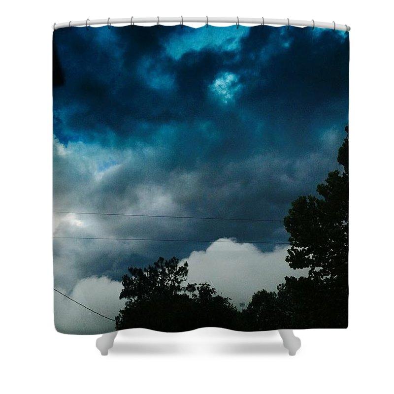 Clouds Shower Curtain featuring the digital art Stormy Days by Alia Rowan