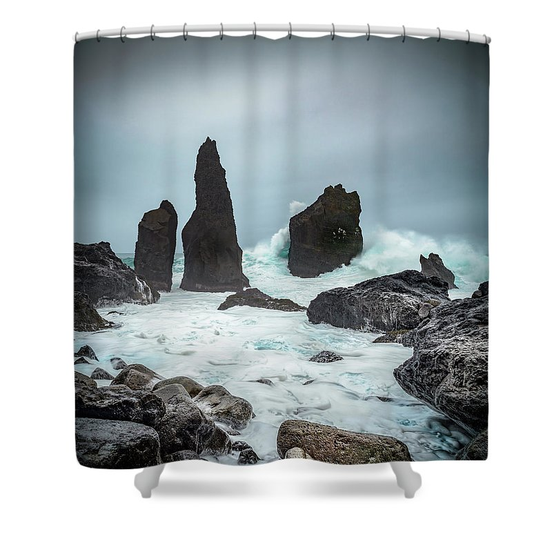 Fulmar Shower Curtain featuring the photograph Stormy Iclandic Seas by Andy Astbury