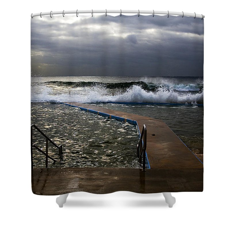 Storm Clouds Collaroy Beach Australia Shower Curtain featuring the photograph Stormy Morning At Collaroy by Sheila Smart Fine Art Photography