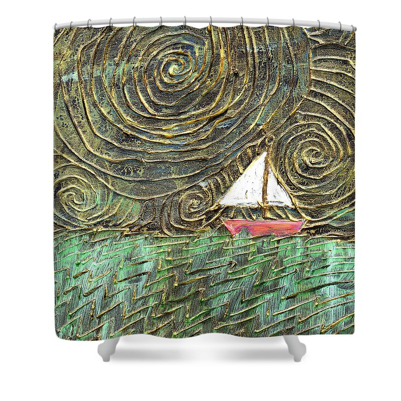 Storm Shower Curtain featuring the painting Stormy Night by Wayne Potrafka