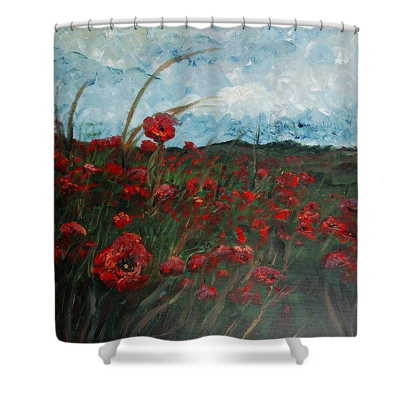 Poppies Shower Curtain featuring the painting Stormy Poppies by Nadine Rippelmeyer