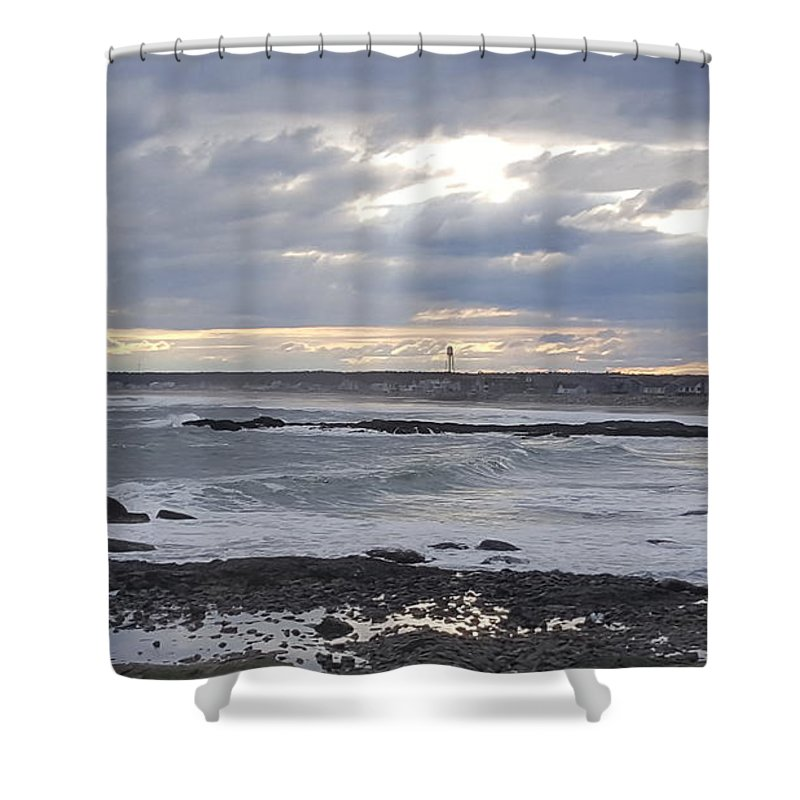 Beach Shower Curtain featuring the photograph Stormy Seas And Sky by Julie Houle