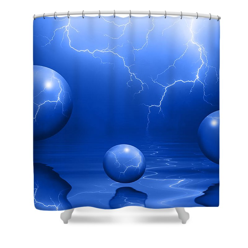 Bubbles Shower Curtain featuring the photograph Stormy Skies - Blue by Shane Bechler