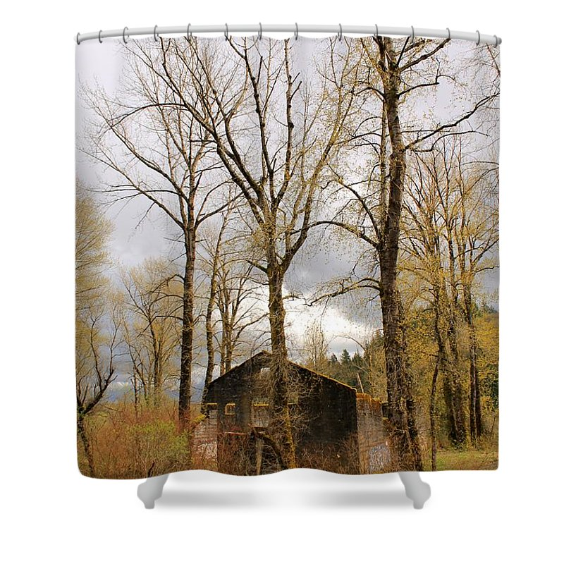 Landscape Shower Curtain featuring the photograph Stormy Skies by Margre Flikweert
