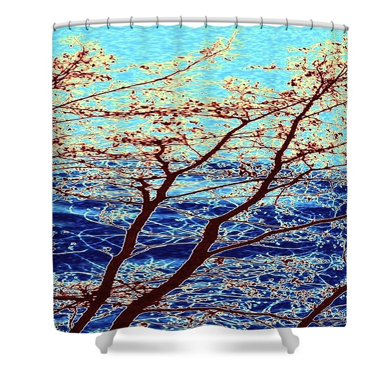 Trees Shower Curtain featuring the digital art Stormy Weather by Will Borden
