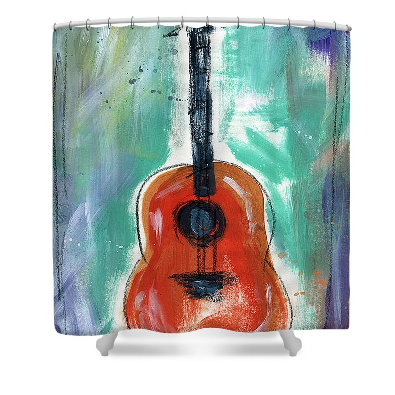 Guitar Shower Curtain featuring the painting Storyteller's Guitar by Linda Woods