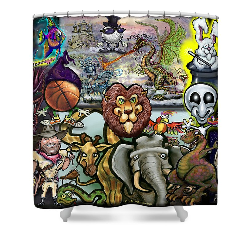 Story Shower Curtain featuring the painting Storytime by Kevin Middleton