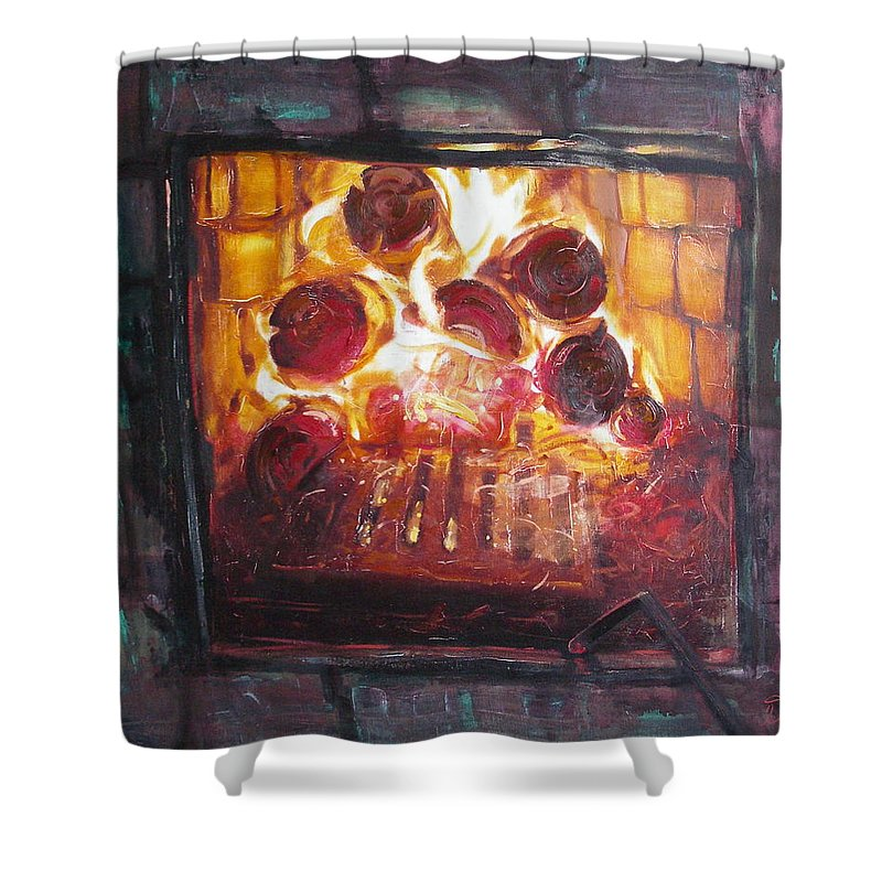 Oil Shower Curtain featuring the painting Stove by Sergey Ignatenko