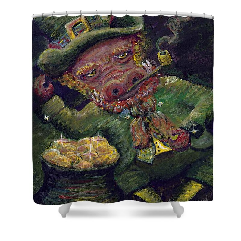 Hog Shower Curtain featuring the painting St.patricks Day Pig by Nadine Rippelmeyer