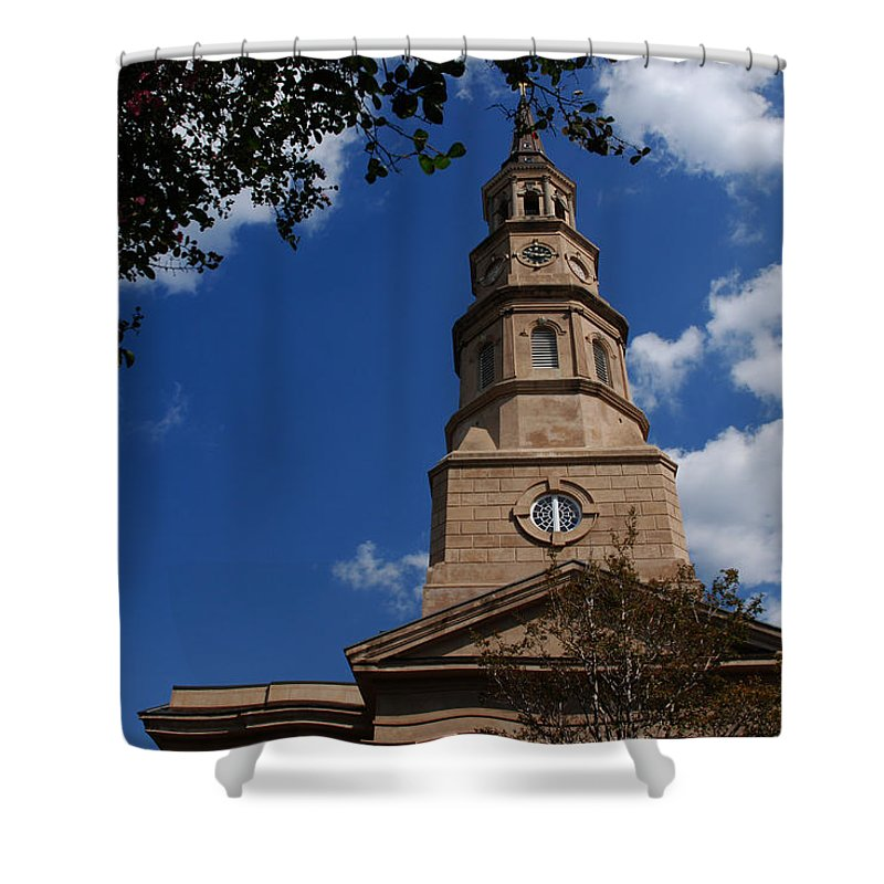 Photography Shower Curtain featuring the photograph St.philips Church Charleston Sc by Susanne Van Hulst