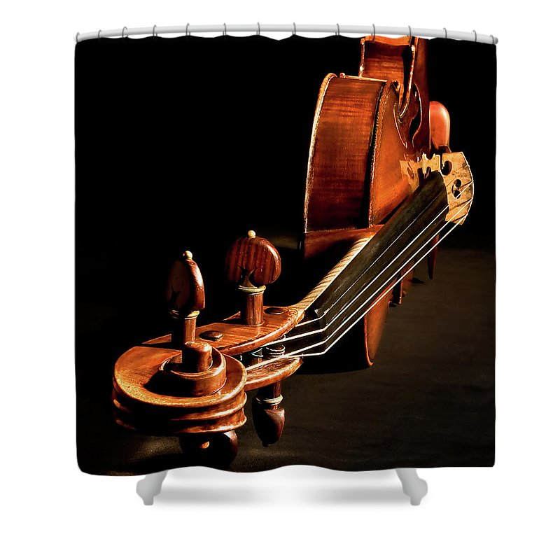 Strad Shower Curtain featuring the photograph Stradivarius From The Top by Endre Balogh