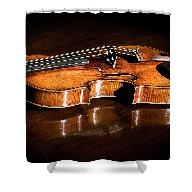 Strad Shower Curtain featuring the photograph Stradivarius In Sunlight by Endre Balogh