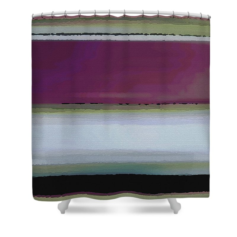 Abstract Shower Curtain featuring the digital art Straight Across by Ruth Palmer