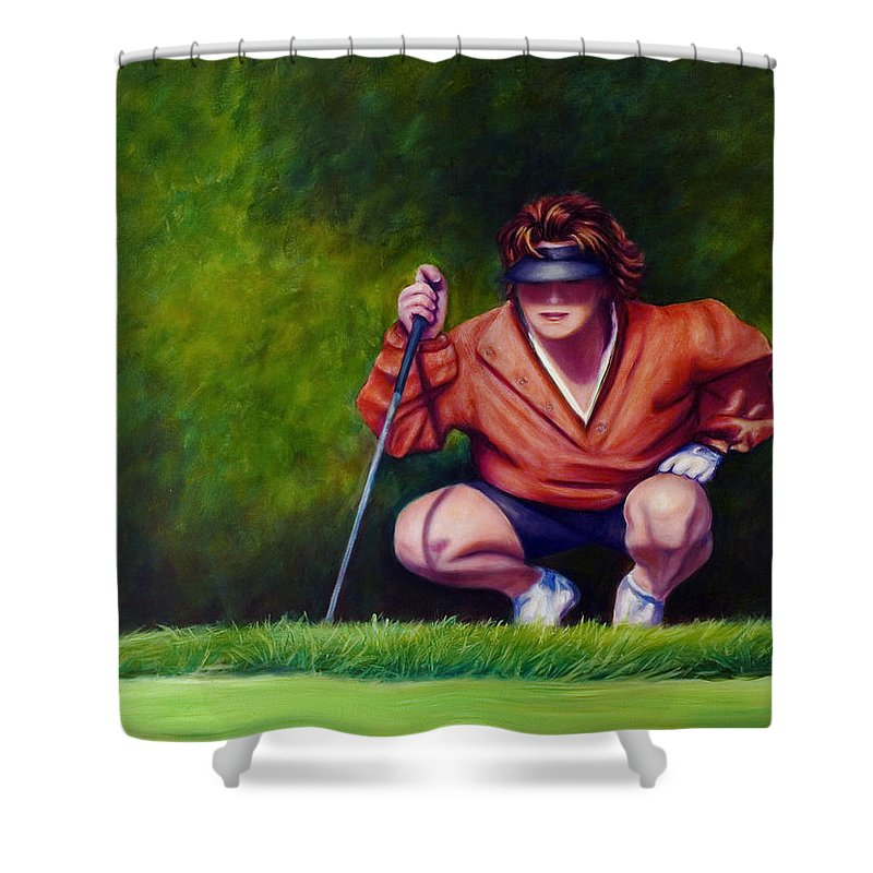 Golfer Shower Curtain featuring the painting Straightshot by Shannon Grissom