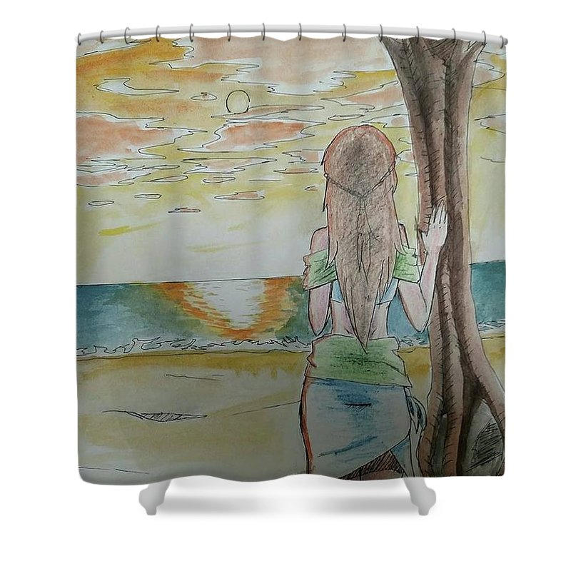 Island Shower Curtain featuring the painting Stranded by Lauren Champion