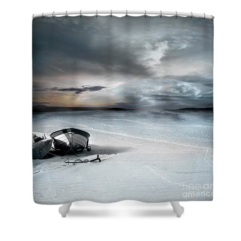 Water Shower Curtain featuring the photograph Stranded by Jacky Gerritsen