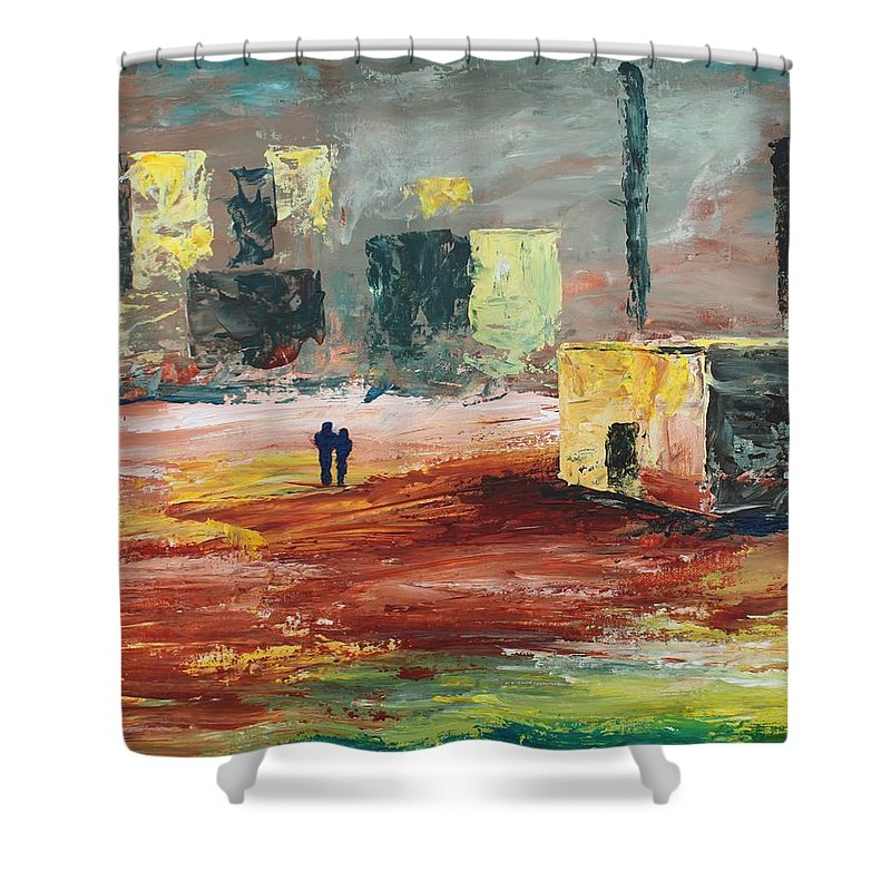 Strange Shower Curtain featuring the painting Strange Land by Angel Reyes