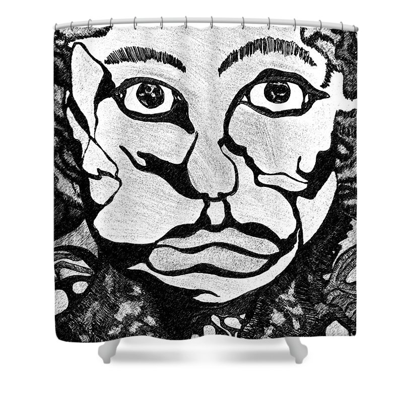 Abstract Shower Curtain featuring the drawing Strange Man by Jessica Morgan