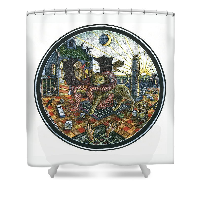 Dragon Shower Curtain featuring the drawing Strange Reverie by Bill Perkins
