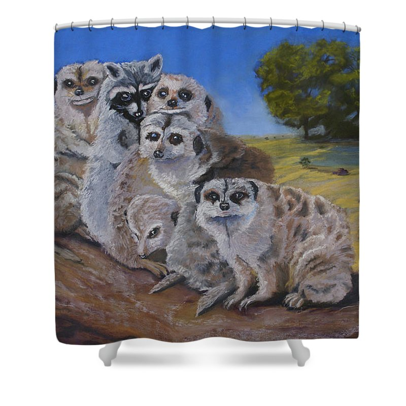 Meer Cat Shower Curtain featuring the painting Stranger In A Strange Land by Heather Coen