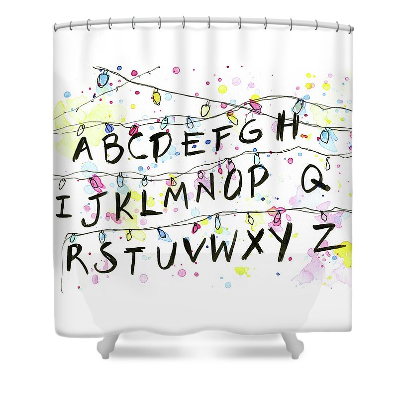 Lights Shower Curtain featuring the painting Stranger Things Alphabet Wall Christmas Lights by Olga Shvartsur