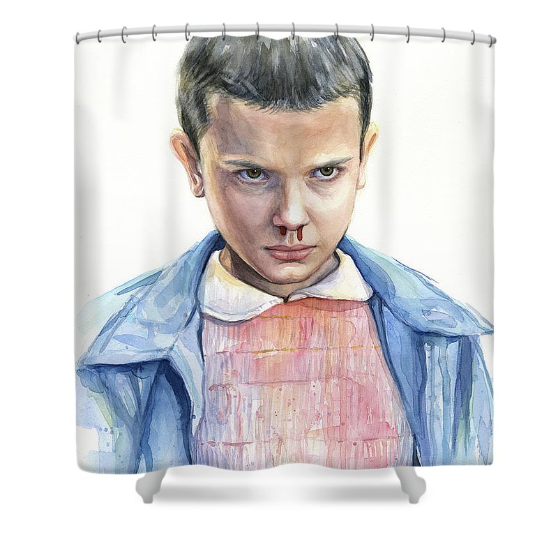 Strager Things Shower Curtain featuring the painting Stranger Things Eleven Portrait by Olga Shvartsur