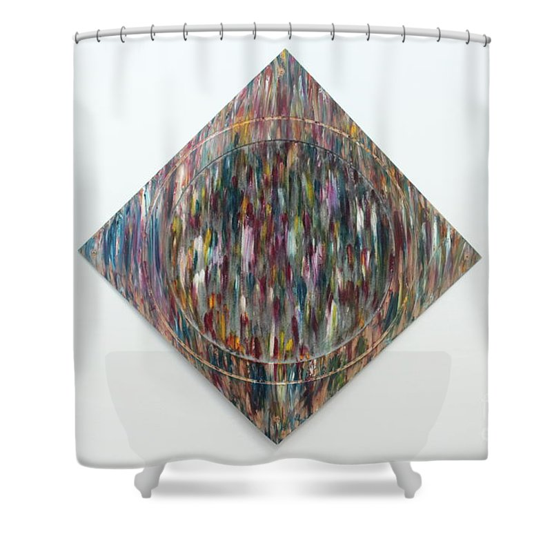 Art Shower Curtain featuring the painting Strangers 3 by Nour Refaat