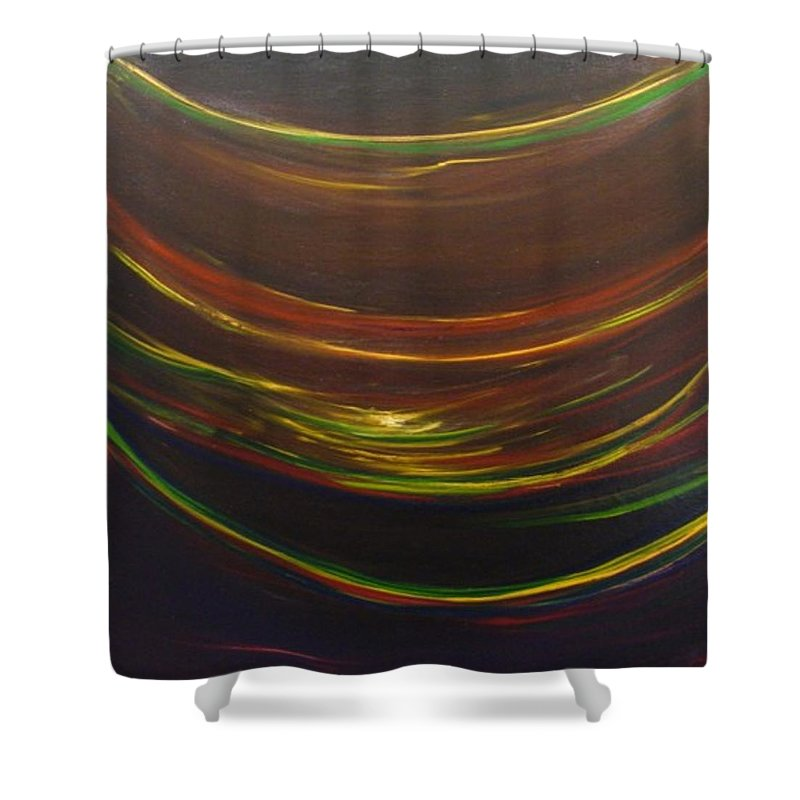 Rainbow Red Yellow Obama Shower Curtain featuring the painting Strata Surf by Jack Diamond