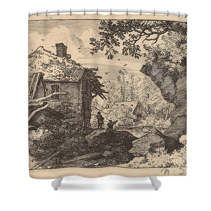 Shower Curtain featuring the drawing Straw Hut Seen From Behind by Allart Van Everdingen