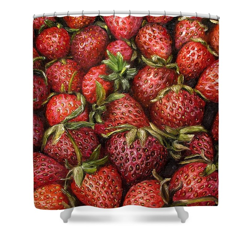 Strawberries Shower Curtain featuring the painting Strawberries -2 Contemporary Oil Painting by Natalja Picugina