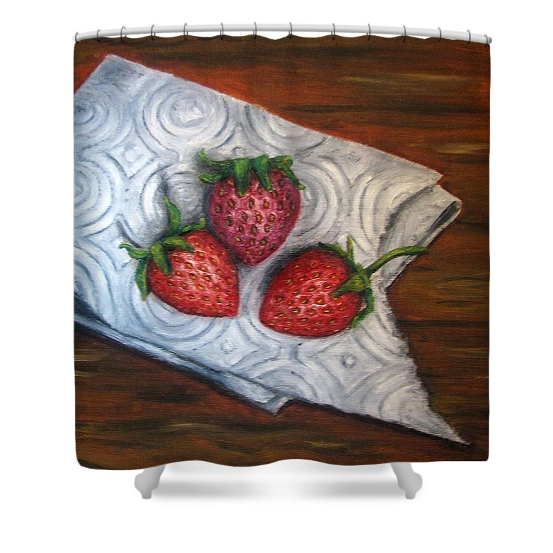 Strawberries Shower Curtain featuring the painting Strawberries-3 Contemporary Oil Painting by Natalja Picugina
