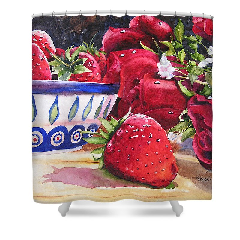 Strawberries Shower Curtain featuring the painting Strawberries And Roses by Karen Stark