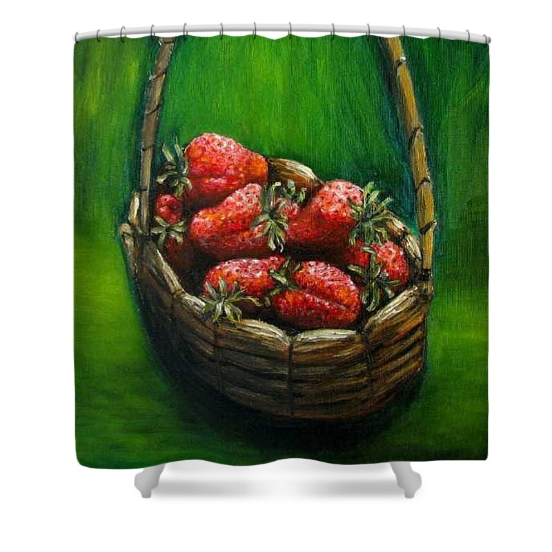 Strawberries Shower Curtain featuring the painting Strawberries Contemporary Oil Painting by Natalja Picugina